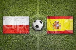 Poland vs. Spain flags on soccer field