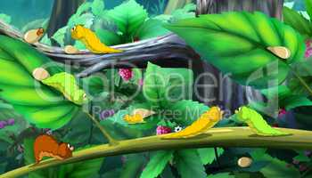 Beautiful Caterpillars Crawls on a Tree full color image