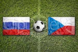 Russia vs. Czech Republic flags on soccer field