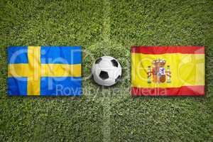 Sweden vs. Spain flags on soccer field