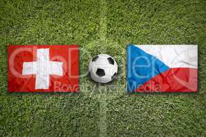 Switzerland vs. Czech Republic flags on soccer field
