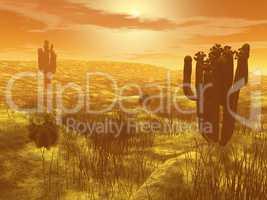 Cactus in the desert - 3D render