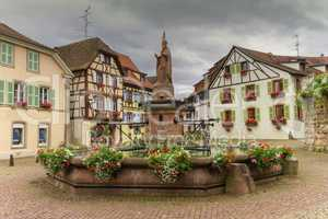 Saint-Leon fountain in Eguisheim, Alsace, France