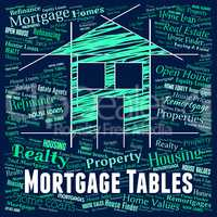 Mortgage Tables Shows Real Estate And Borrowing
