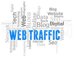 Web Traffic Represents Wordclouds Customers And Websites