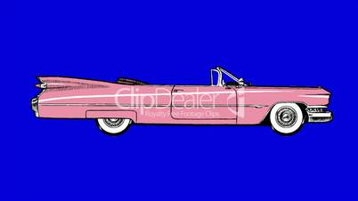 Pink Retro Car. Classic Style UHD Animation on Chroma Key Blue Screen.