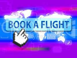 Book Flight Indicates Reserved Plane And Travel
