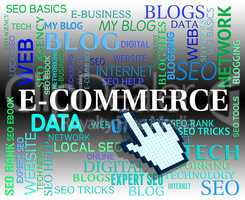 Ecommerce Word Means Web Site And Commercial