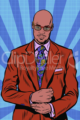 Retro hipster African American, black man, elegant suit and sunglasses
