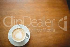 Overhead view of coffee served on table at cafeteria
