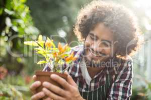 Gardener holding potted plant outside greenhouse