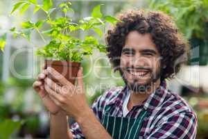 Smiling young male gardener holding potted plant