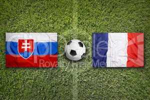 Slovakia vs. France flags on soccer field