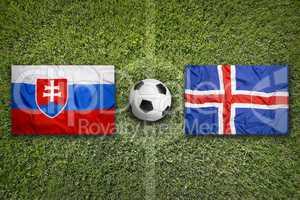 Slovakia vs. Iceland flags on soccer field