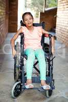 Handicapped girl at school corridor