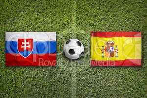 Slovakia vs. Spain flags on soccer field