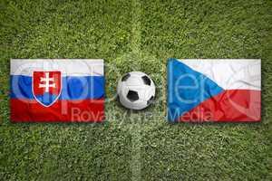 Slovakia vs. Czech Republic flags on soccer field