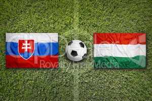 Slovakia vs. Hungary flags on soccer field