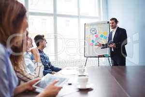 Coworkers looking at confident businessman giving presentation