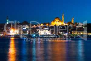 Evening in Istanbul and Rustem Pasa Mosque