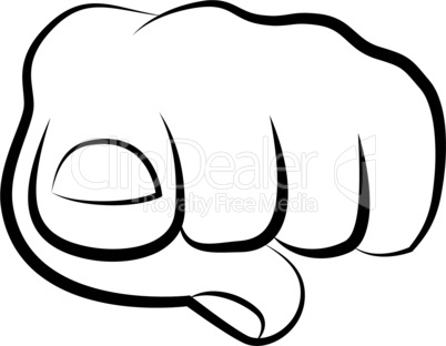 hand pointing finger at viewer, from front vector illustration