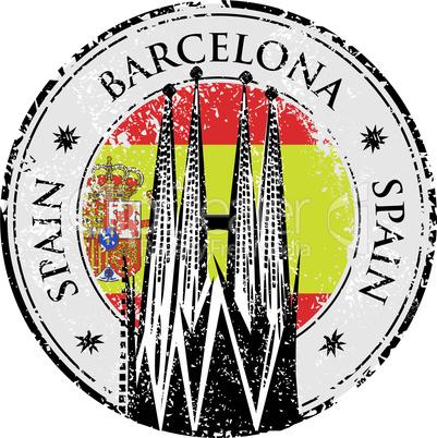 Grunge rubber stamp of Barcelona, Spain, vector illustration of Sagrada Familia