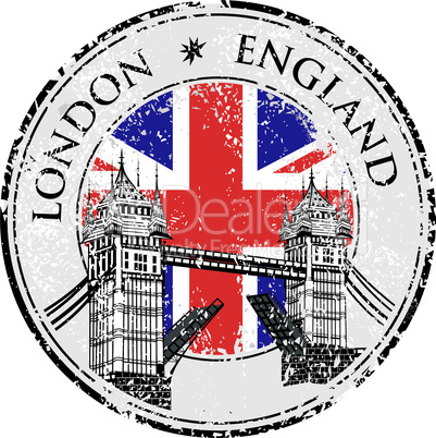 Tower Bridge grunge stamp with flag, vector illustration , London vector hand drawn illustration