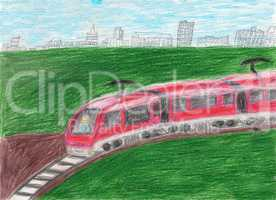 High speed modern commuter train transportation drawn by kid, illustration