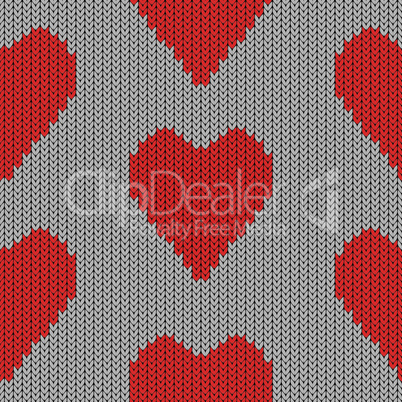Knitted heart. Valentine day holiday. Vector handmade seamless wool pattern. Abstract ornamental background. Vintage  embroidery illustration texture.