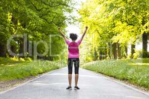 Young Woman Teenager Fitness Running Celebrating