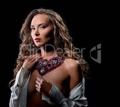 Image of sensual woman in luxurious necklace
