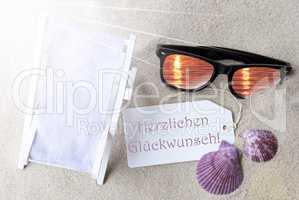 Sunny Flat Lay Summer Label Glueckwunsch Means Congratulations