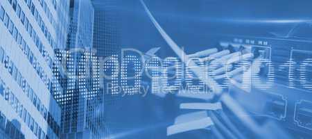 Composite image of binary code on digital screen