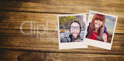 Composite image of smiling hipster woman with a travel bag takin