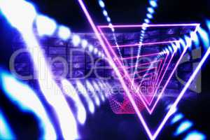 Composite image of triangle design with glowing light