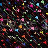 Heart love seamless rain