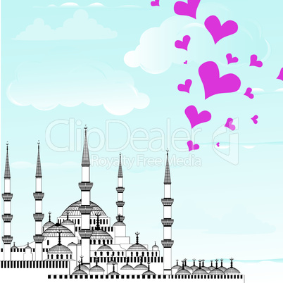 Love to Istanbul vector illustration of The Blue Mosque, Sultanahmet Camii, Turkey.