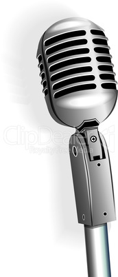 Microphone vintage metallic object vector on stand isolated on white background