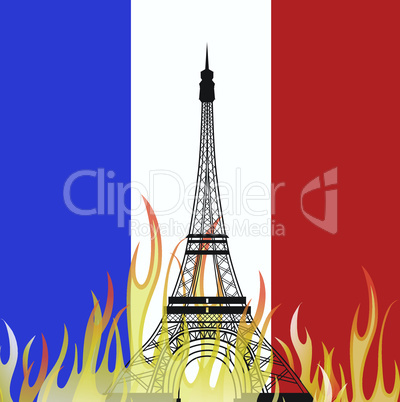 PARIS/FRANCE - Friday, 13th November 2015, terror attacks across Paris. Vector illustration of The Eiffel Tower .