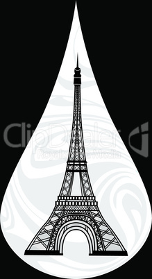 Metaphoric illustration of France. Crying tear, mourning, Paris on the background, with an Eiffel tower vector illustration.