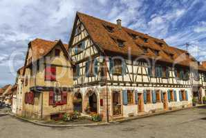Traditional timbered houses in Dambach-la-ville, Alsace, France