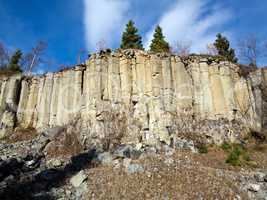 Old Basalt Quarry In The Ore Mountains - basalt columnar jointin