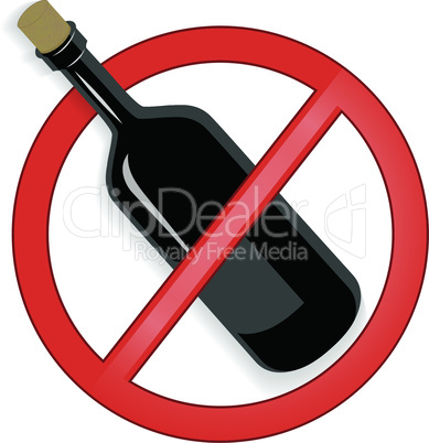 No alcohol sign vector on white background.