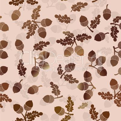 Acorns oak nut vector seamless pattern