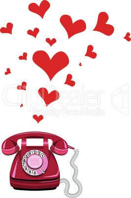 Phone receiver and heart. Love hotline concept vector for valentine's day