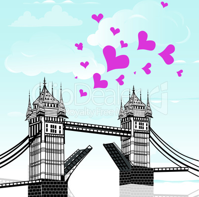 Tower Bridge with love heart as concept travel, London vector hand drawn illustration