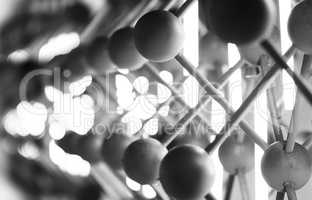Horizontal black and white abstract motion blur spheres backgrou