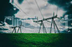 Horizontal dark digital pixel dot point cyberpunk power lines ba