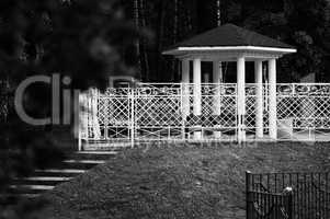 Horizontal black and white summer house bokeh background backdro