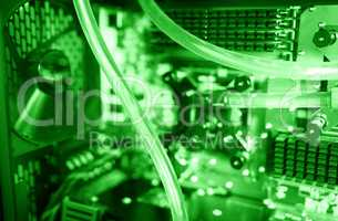 Inside green water cooled computer bokeh background